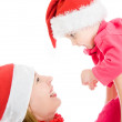 Happy Christmas mother and daughter on a white background. — Stock Photo #7486780