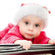 Christmas baby in the suitcase on a white background. — Stock Photo #7486891
