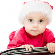 Christmas baby in the suitcase on a white background. — Stock Photo #7486903