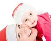 Mutlu Noel Anne ve kızı beyaz zemin üzerine. — Stok fotoğraf