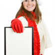 Happy Christmas woman with tablet in hand on white background. — Stockfoto