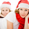 Happy Christmas mother and daughter on a white background. — Stock Photo #7616595
