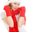 Happy Christmas woman compresses his fists on a white background. — Stock Photo
