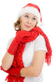 Happy Christmas woman wistfully looking up on white background. — Stock Photo