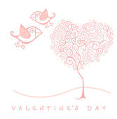 Vector valentine's day card with bird and tree — Stock Vector