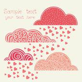 Regen van hart met wolken in roze — Stockvector