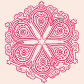 Ornamental round lace pattern, circle background with many detai — Stok Vektör