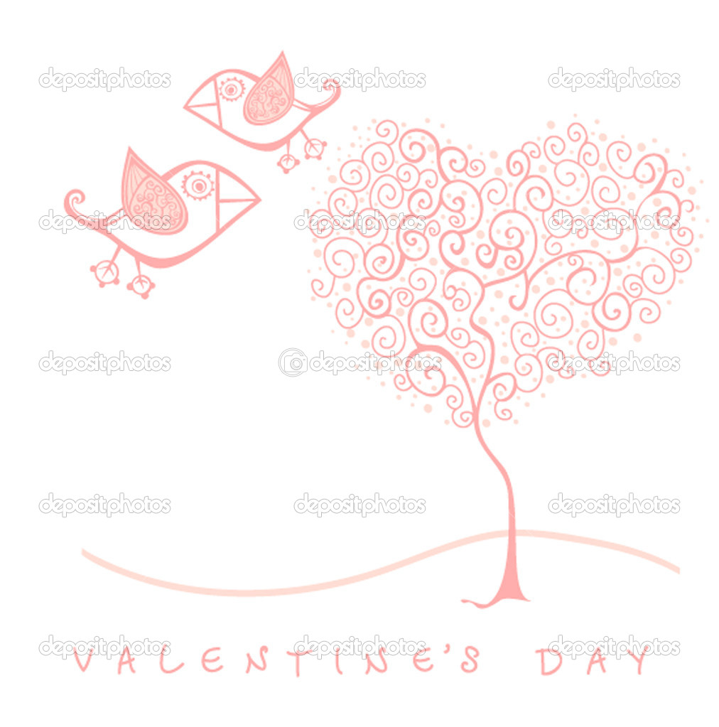 Vector valentine's day card with bird and tree  Stock Vector #6964585
