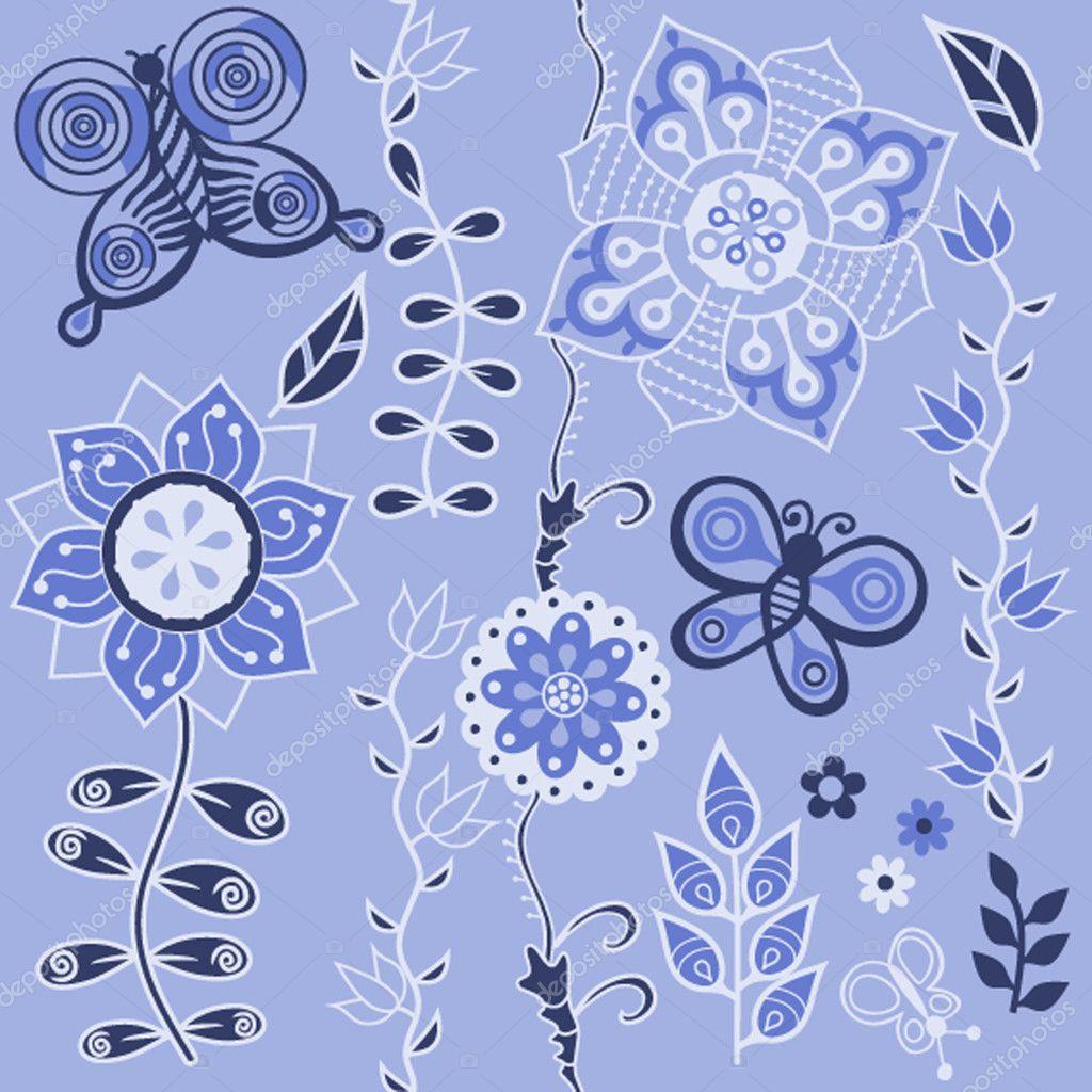 用鲜花的无缝纹理 — 矢量图片作者