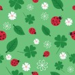 Stock Vector: Seamless pattern with flowers and ladybirds