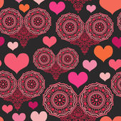 Romantic seamless pattern with hearts — Stok Vektör