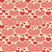 心でロマンチックなシームレス パターン — ストックベクタ