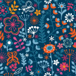 Stock Vector: Floral seamless pattern, endless texture with bright cartoon flo