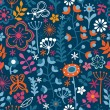 Floral seamless pattern, endless texture with bright cartoon flo — Stock Vector #7008645