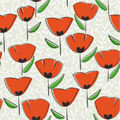 Poppy seamless pattern, endless texture with poppy — Stock Vector