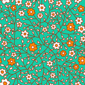 Seamless floral pattern.Endless texture with small daisy. — Stock Vector
