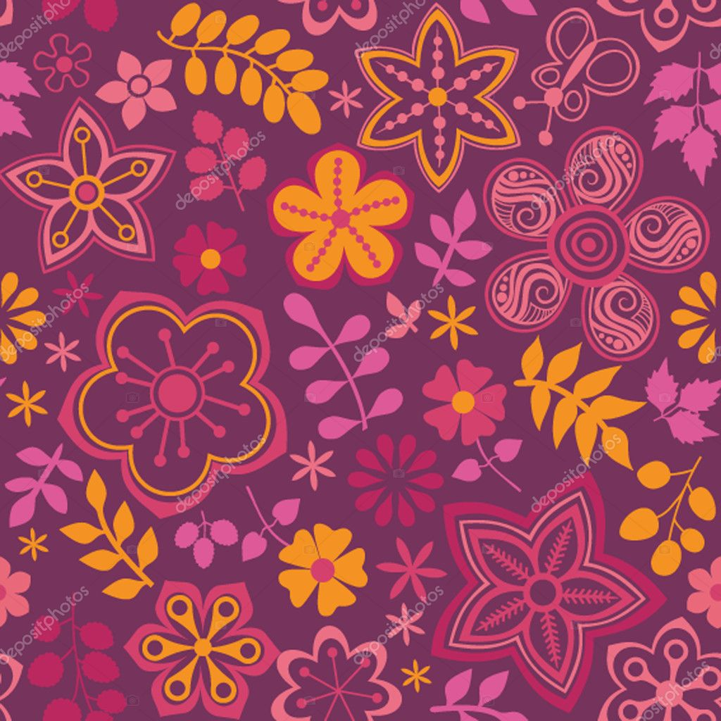 Floral seamless pattern, endless texture with bright cartoon flowers  Stock Vector #7008632