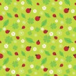 Seamless pattern with flowers and ladybirds — Stock Vector
