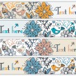 Floral banners, stylish floral banners, set of four horizontal, — Vetorial Stock