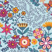 Textura sin fisuras con flores y mariposas. interminable pa floral — Vector de stock