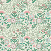 Seamless texture with flowers and butterflies. Endless floral pa — Cтоковый вектор