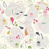 Sea world seamless pattern, under water world wallpaper with fis — Stock Vector