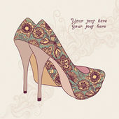A high-heeled vintage shoes with flowers fabric. High heels back — Stock Vector