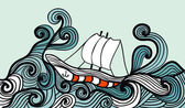 Sailing ship in the storm ocean — Stock Vector