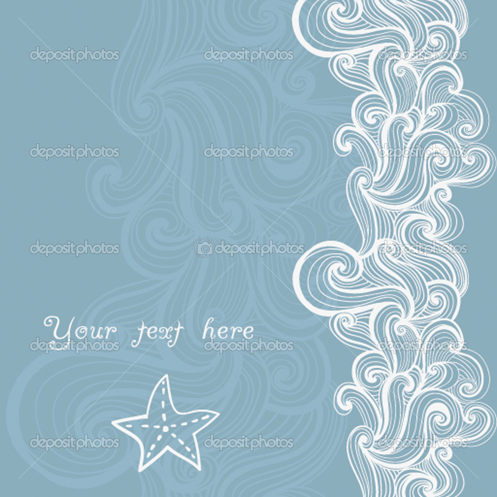 Background waves and starfish, maritime pattern — Vektorgrafik #7919623