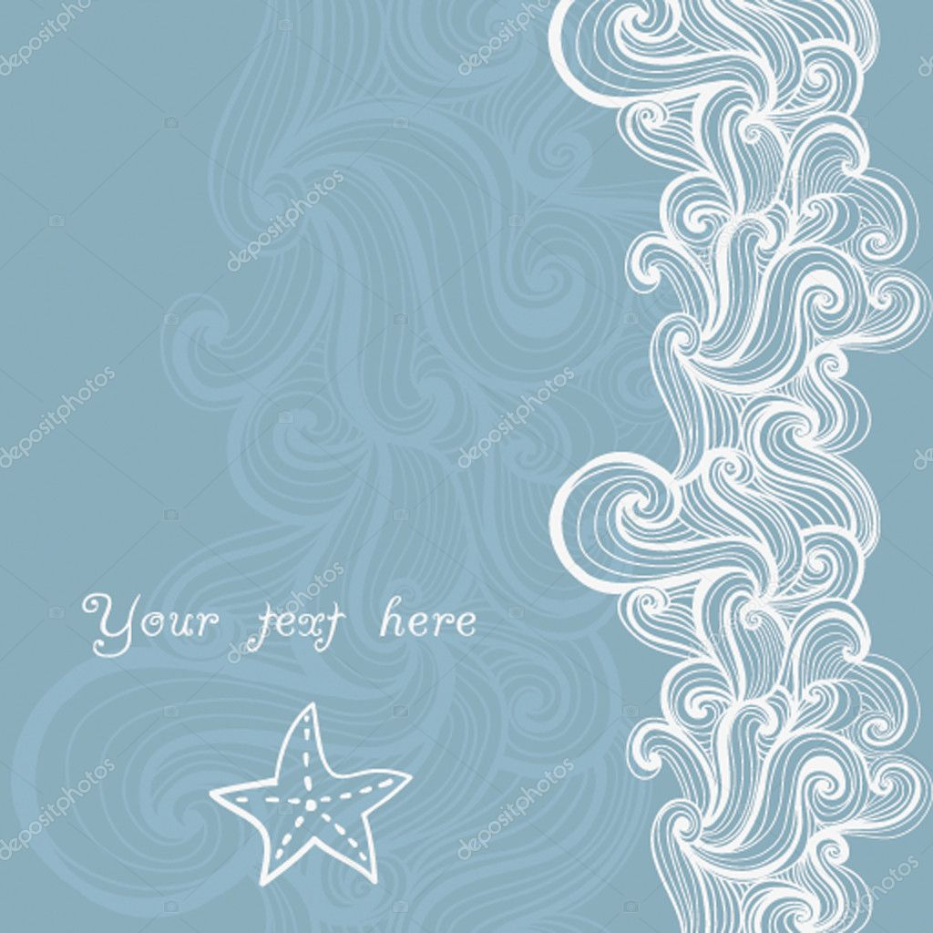 Background waves and starfish, maritime pattern  Vettoriali Stock  #7919623