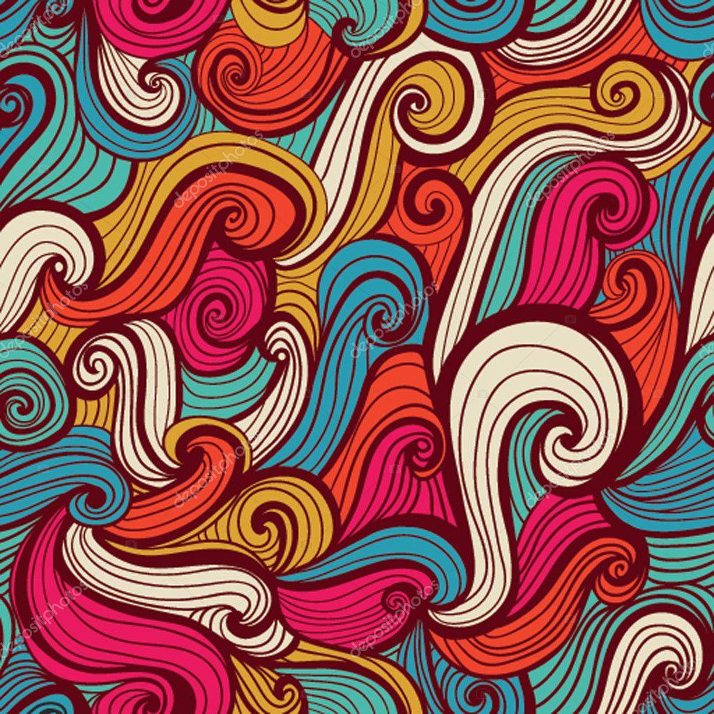 海浪梳子手绘图片