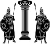 Two hoplits and column — Vector de stock