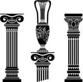 Pochoirs de colonnes et cruche hellénique — Vecteur