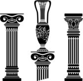 Stencils of columns and hellenic jug — 图库矢量图片