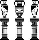 Hellenic jugs with columns — Stock Vector