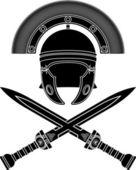 Roman helmet and swords — Stock Vector