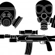 Постер, плакат: Sniper rifle and gas masks