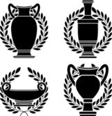 Set of hellenic amphoras and vases — Stock Vector