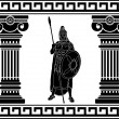 Stock Vector: Black warrior with with columns. first variant