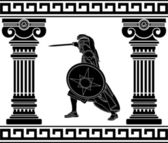 Black warrior with with columns. third variant — Vector de stock