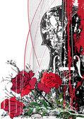 Composición musical floral Vector — Vector de stock