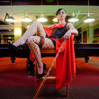 Sexy woman in billiard club — Stock Photo