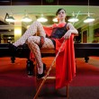 Sexy woman in billiard club — Stock Photo #6898686