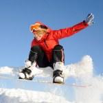 Snowboarding woman — Stock Photo