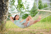 Woman sleep on hammock — Stock Photo