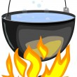 Vector illustration of a fire and a pot — Stock Vector