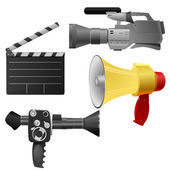 Vector illustration set of objects cinema — Stock Vector