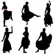 Collection of vector dancers — Stock Vector