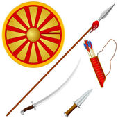 Collection of vector illustrations Cossack weapons — Stock Vector