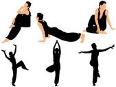 Collection of vector illustrations gymnasts — Stock Vector
